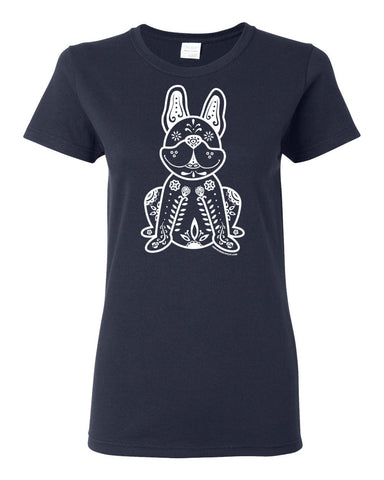 Women's White Sugar Skull French Bulldog -  Short Sleeve T-shirt