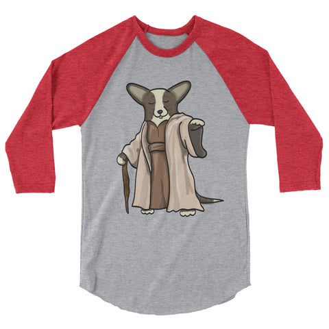 "Brindle with TAIL Corgi ""Yoda"" Shirt - 3/4 sleeve raglan shirt"