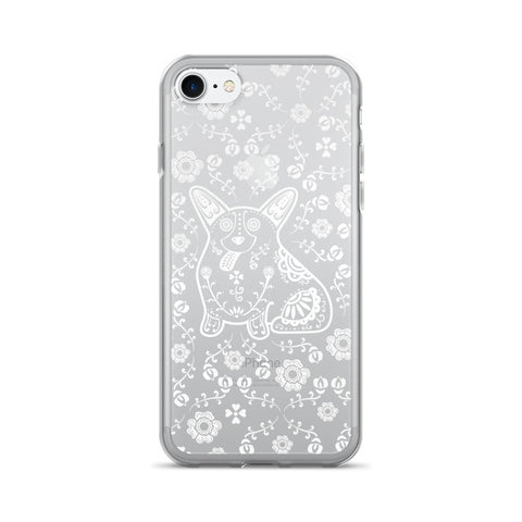 Sugar Skull Corgi - White on Clear - iPhone 7 / 7 Plus Phone Case