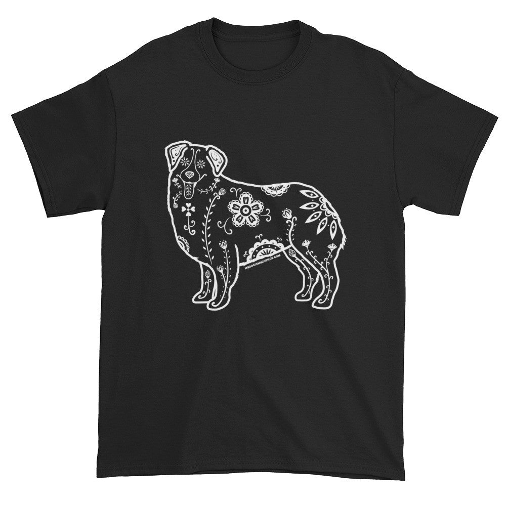 Men's White Sugar Skull Australian Shepherd -  Short Sleeve T-shirt