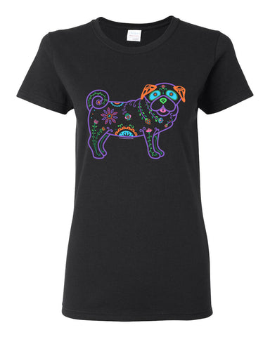 Women's Color Sugar Skull Pug -  Short Sleeve T-shirt