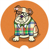 English Bulldog Car Coasters - Sandstone car coasters - Set of 2