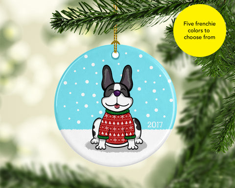 2017 French Bulldog Ornament - French Bulldog Ugly Sweater Ornament - Five Colors to choose from