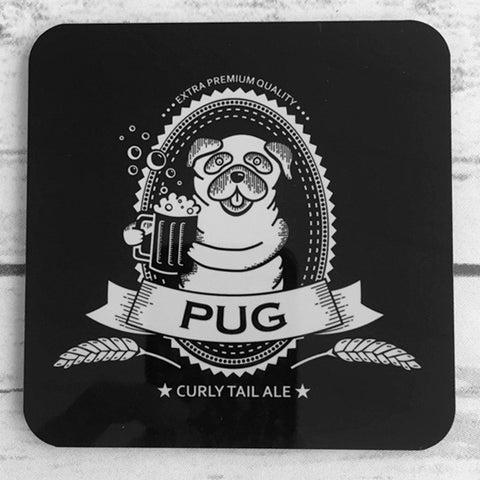 Pug Beer Label Coasters - Set of 4
