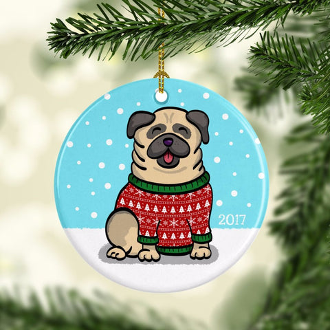 2017 Pugly Sweater Ornament - Pug Ornament