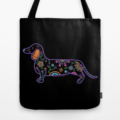 Color Sugar Skull Dachshund Tote Bag - My Dog Is My Co-Pilot