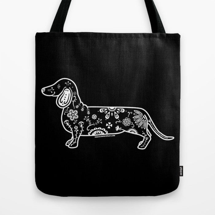 Black and White Sugar Skull Dachshund Tote Bag - My Dog Is My Co-Pilot