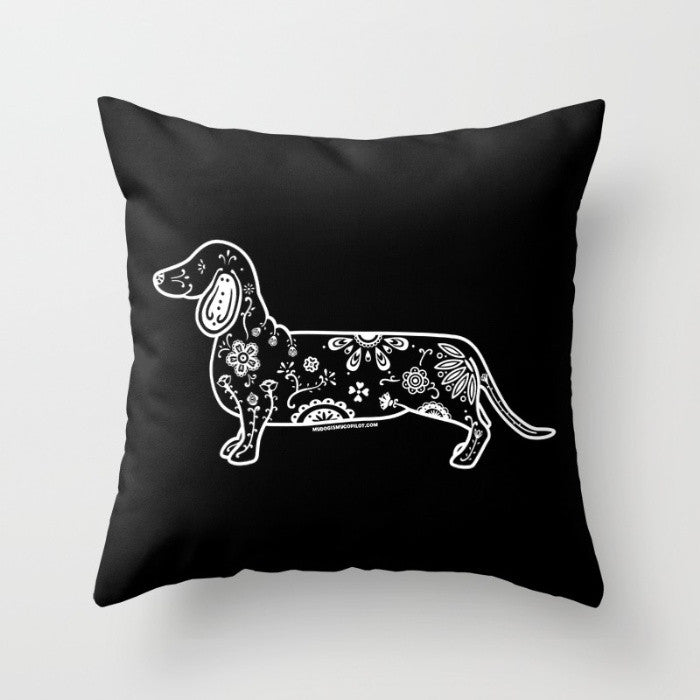 Black and White Sugar Skull Dachshund Pillow - My Dog Is My Co-Pilot