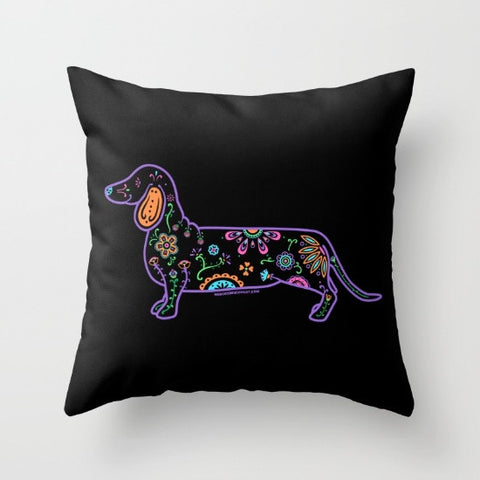 Color Sugar Skull Dachshund Pillow - My Dog Is My Co-Pilot