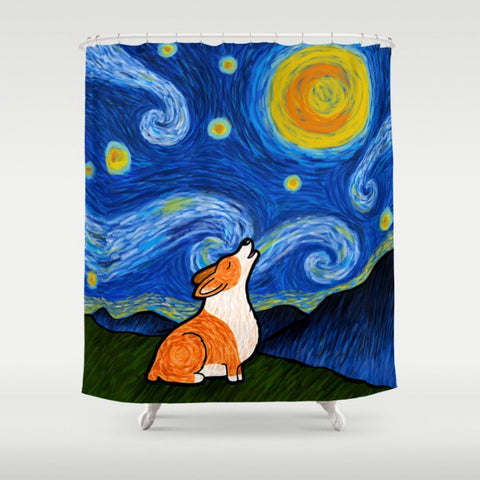 Starry Baroo Corgi Shower Curtain - My Dog Is My Co-Pilot
