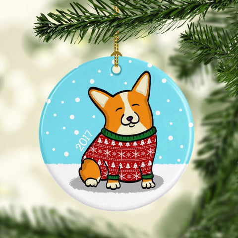 2017 Corgi Ornament - Ugly Sweater Corgi Ornament - Pembroke and Cardigan