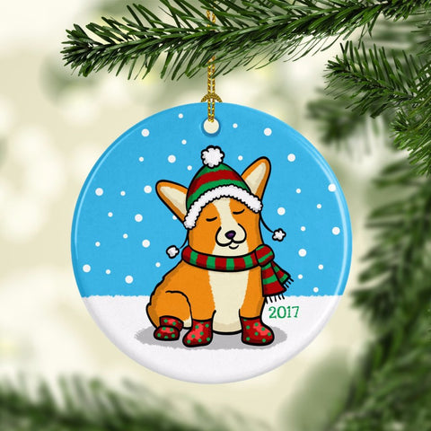 2017 Corgi Ornament - Frapping Through the Snow Corgi Ornament - Pembroke and Cardigan