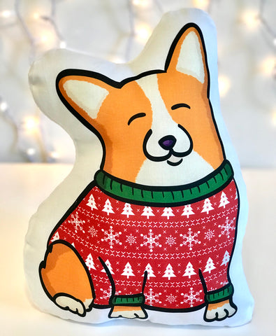 Ugly Holiday Sweater Corgi - Handmade Plush Pillow
