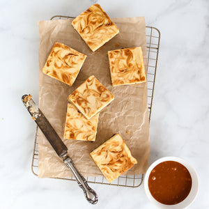 Keto Salted Caramel Cheesecake Blondie Bar