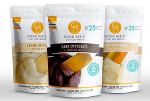 Good Dee's Just Add Water Frosting Bundle - 3 Flavors ( Dark, White & Cream Cheese)