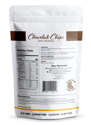 Good Dee's Chocolate Chips - Allulose sweetened, Keto Friendly, Sugar Free, Dairy Free, No Sugar Alcohols, 0g Net Carbs