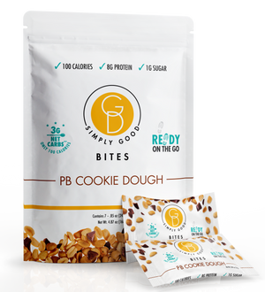 Good Dee's Peanut Butter Cookie Dough Bites - Low Carb Protein Snacks for On The Go with Seven Bites Per Pouch (100 calories, 3g net carbs, 8g protein, 1g Sugar) - Diabetic & Keto Friendly