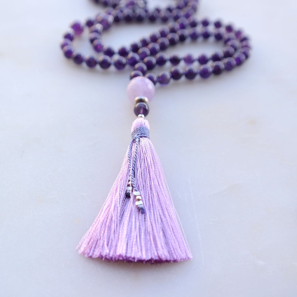Amethyst Mala Necklace - Protection Mala Beads