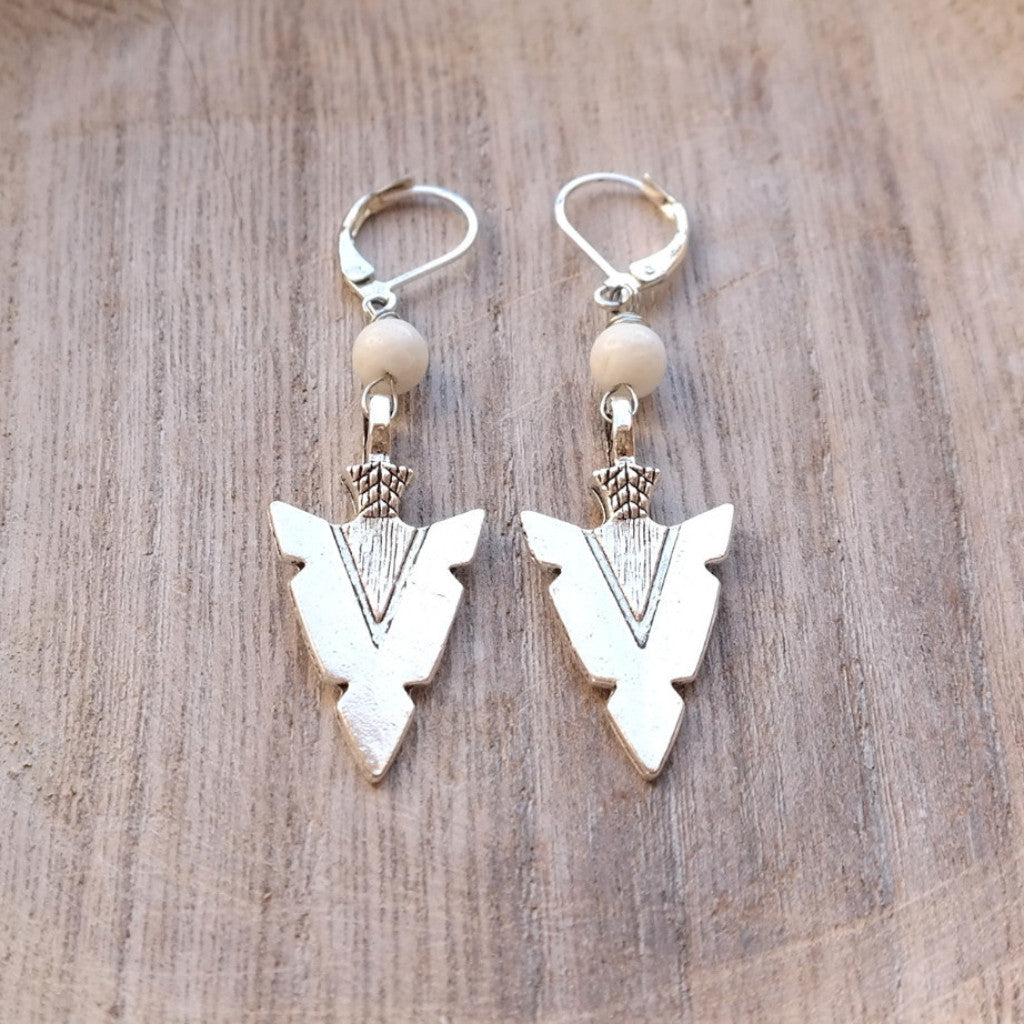 Arrowhead Earrings with White Coral - Gypsy Soul Jewellery
