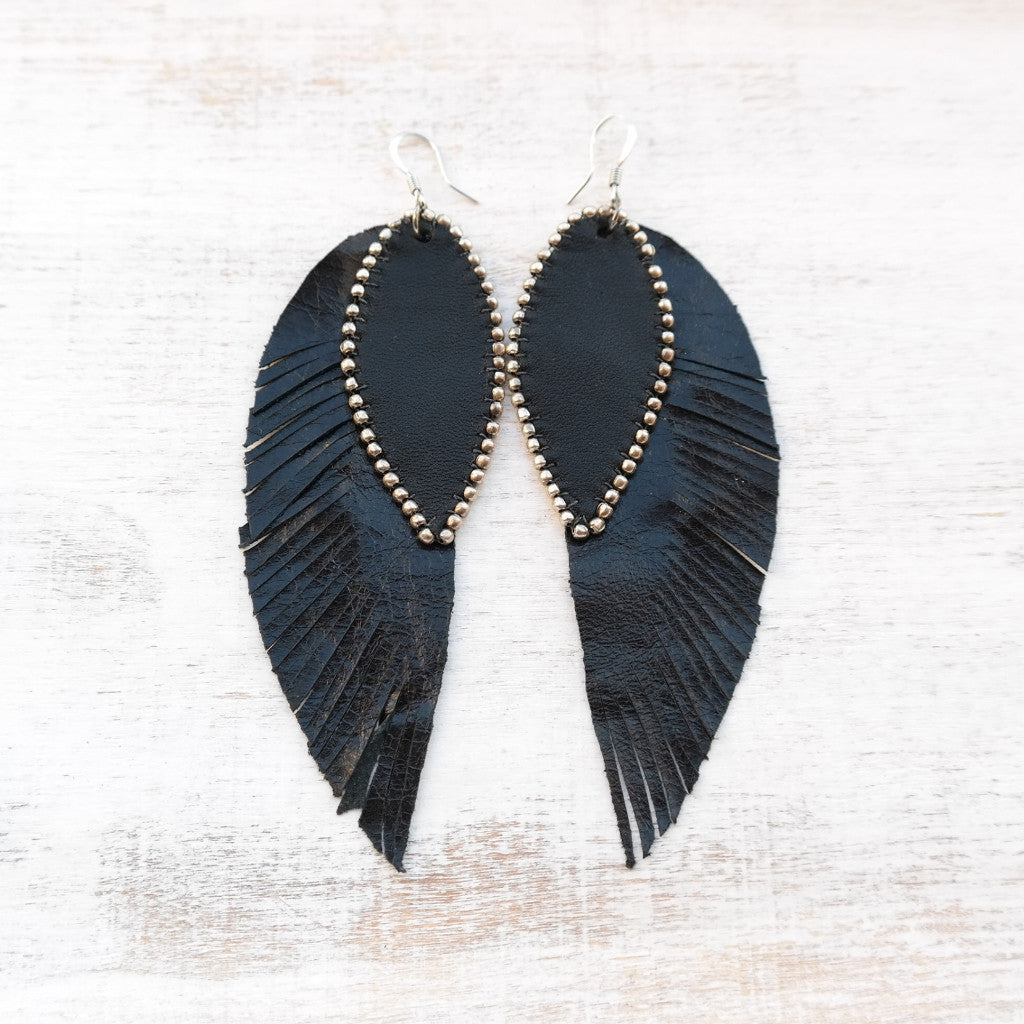 Long Black Leather Earrings - Gypsy Soul Jewellery