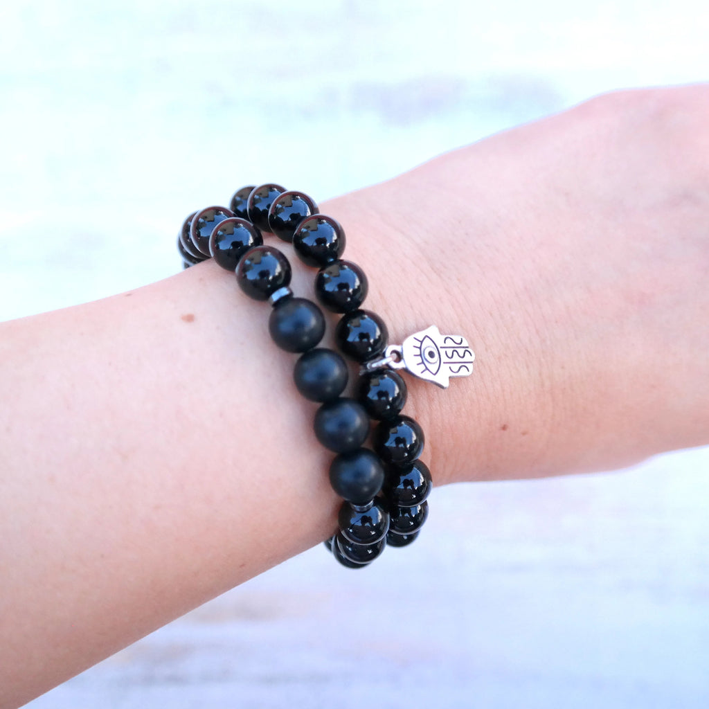 Black Onyx Bracelet with Hand of Fatima