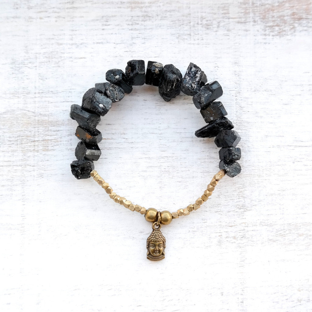 Black Tourmaline Bracelet with Buddha Charm - Gypsy Soul Jewellery  - 1