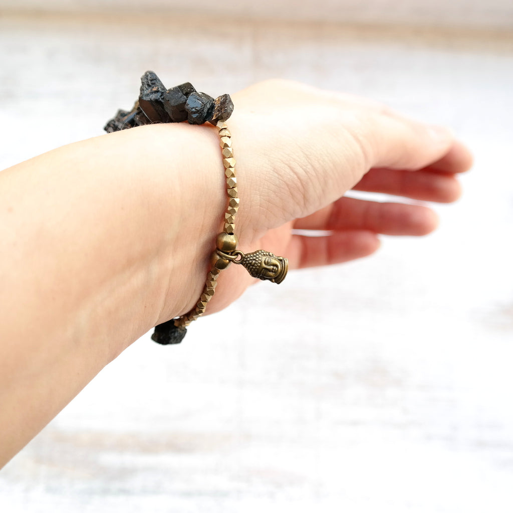 Black Tourmaline Bracelet with Buddha Charm - Gypsy Soul Jewellery  - 2