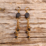 Black Lava Stone Earrings - Gypsy Soul Jewellery  - 2