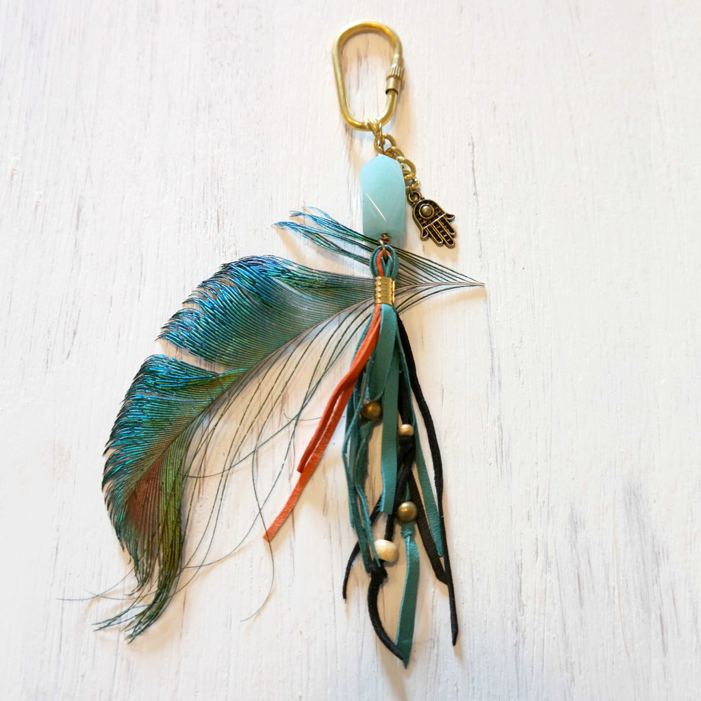 Boho Leather Fringe Bag Pendant with Aquamarine - Gypsy Soul Jewellery  - 1