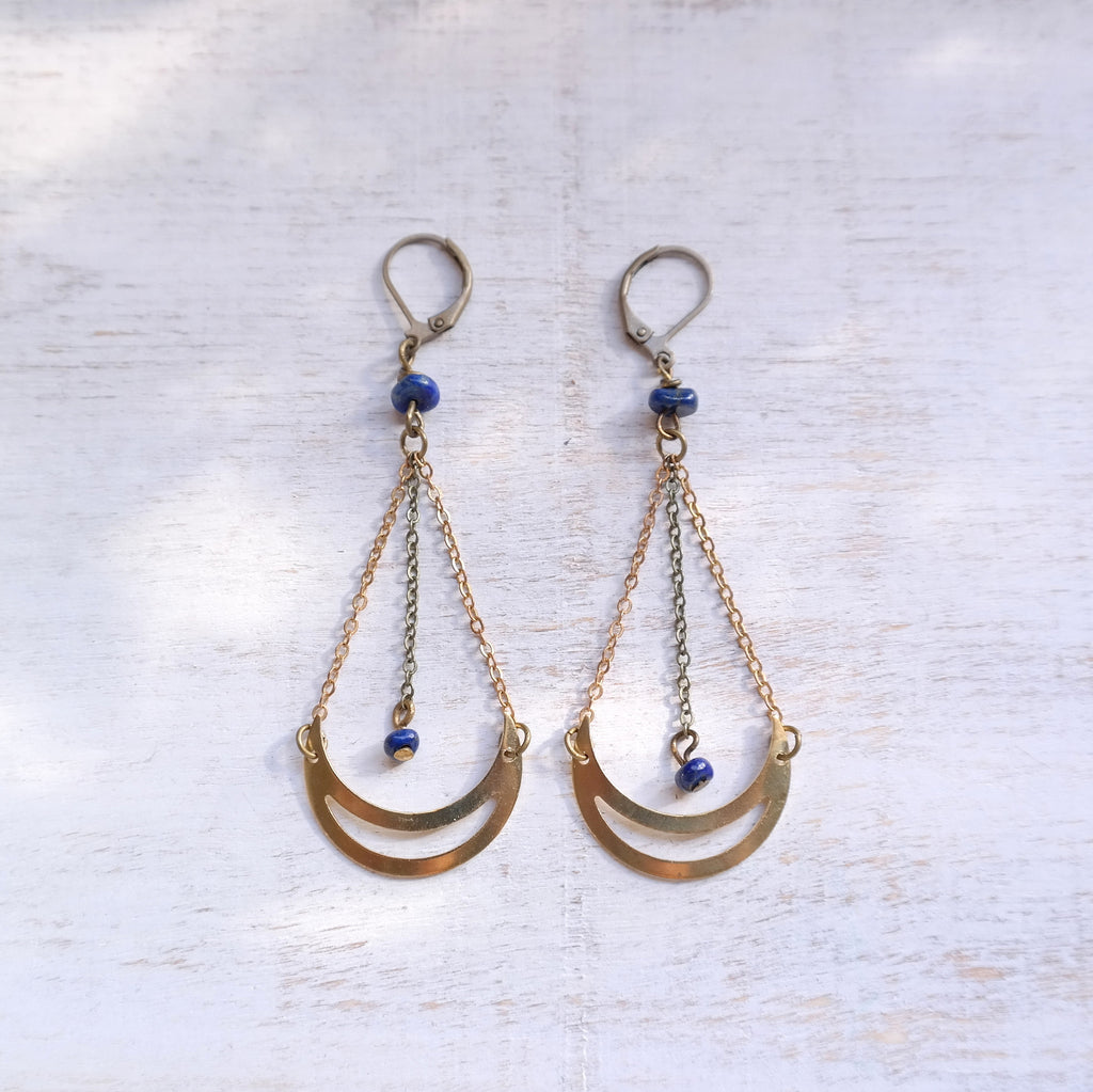 Lapis Lazuli Moon Earrings - Gypsy Soul Jewellery  - 1