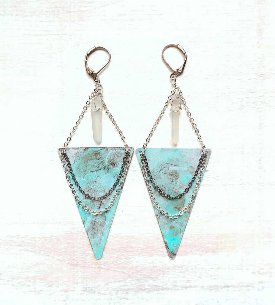 Triangle Chandelier Earrings with Quartz