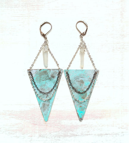 Long Crystal and Turquoise Earrings