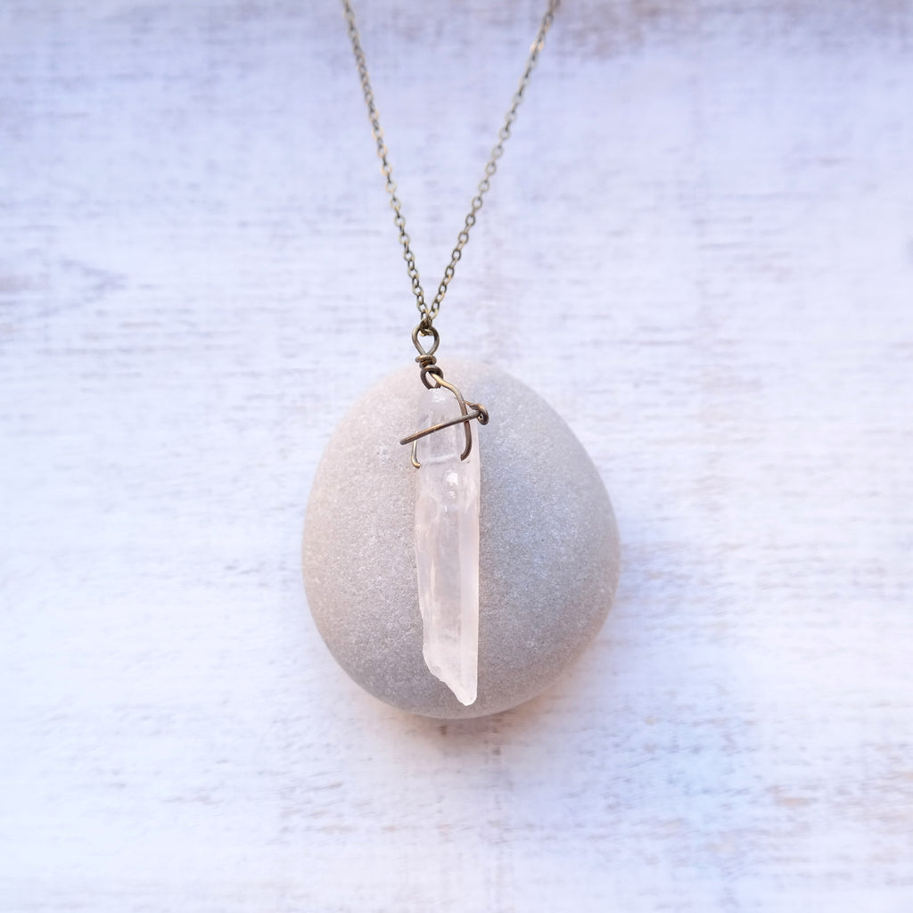 Crystal Quartz Point Necklace - antique gold & antique silver - Gypsy Soul Jewellery  - 2
