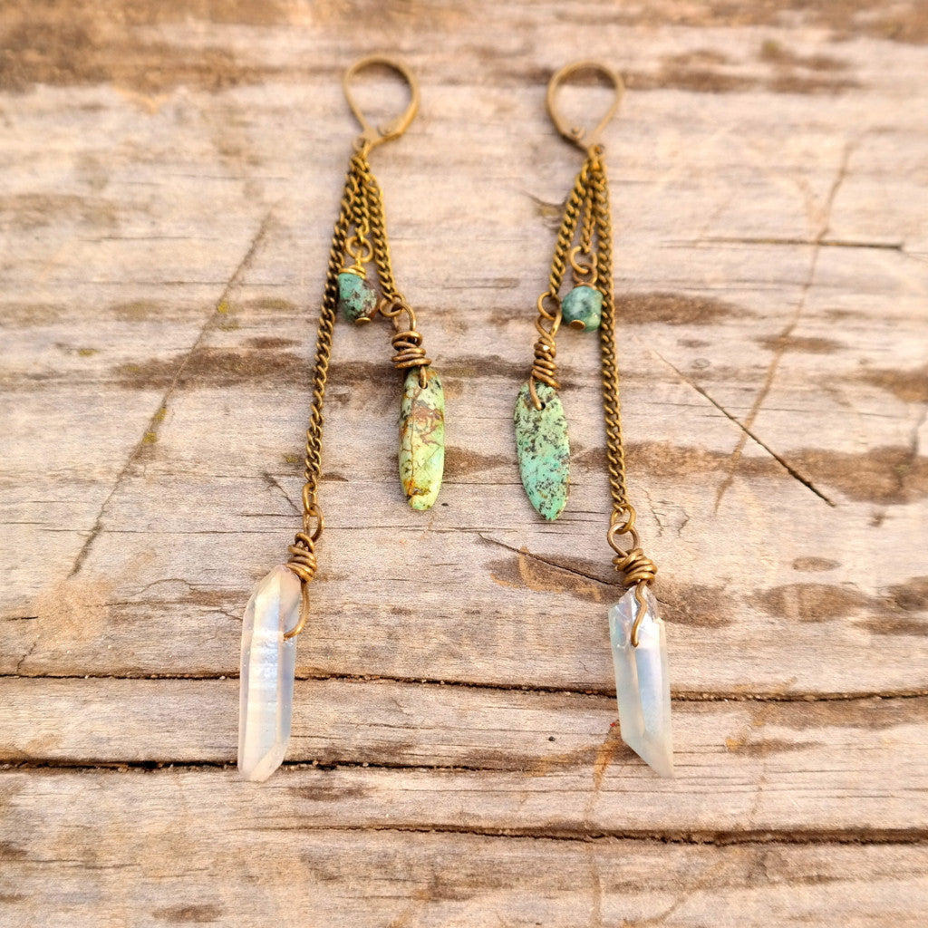 Long Crystal and Turquoise Earrings - Gypsy Soul Jewellery  - 2