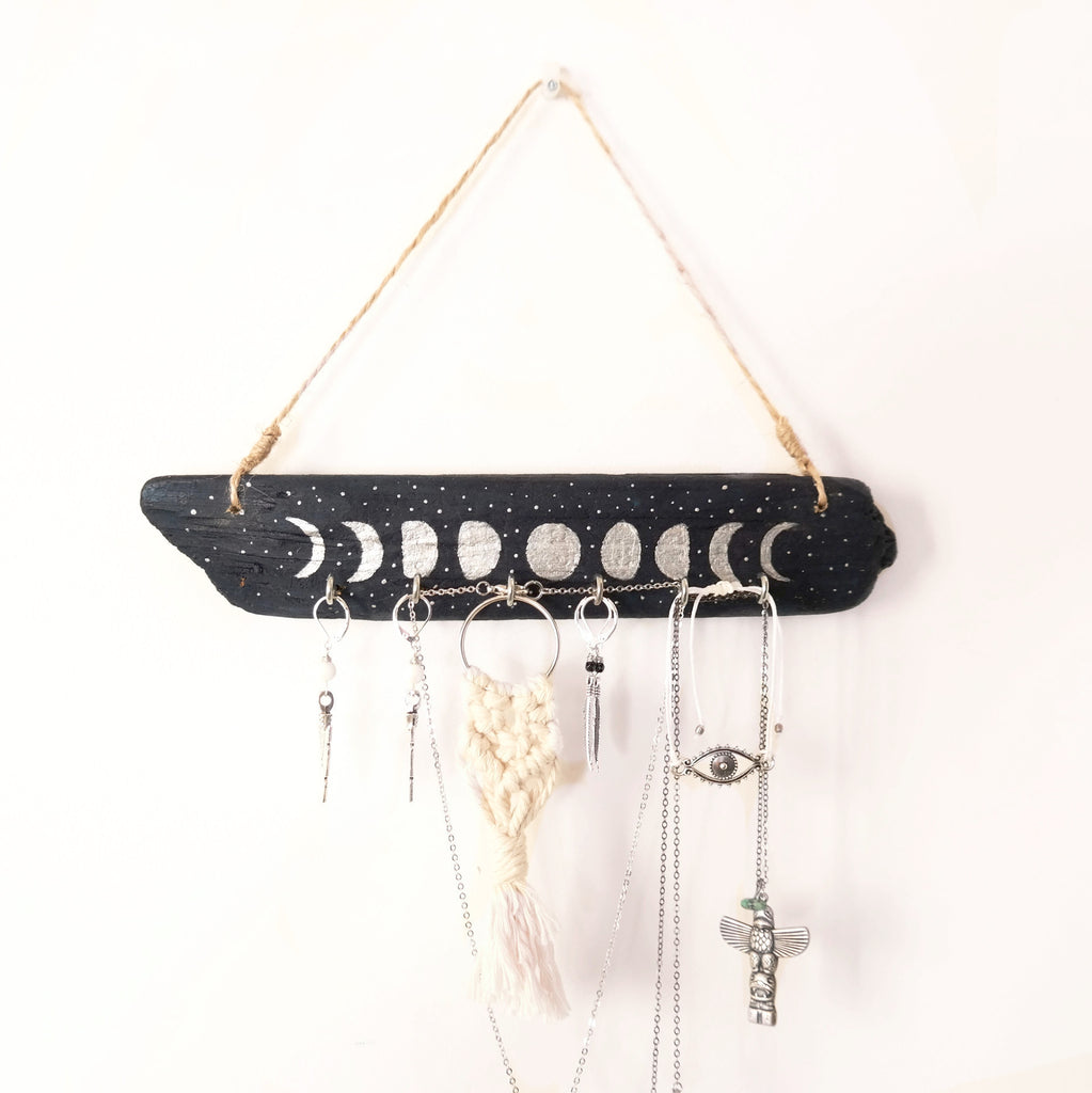 Driftwood Jewellery Holder - Moon Phases - Gypsy Soul Jewellery  - 1