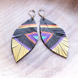 Aztec Feather & Leather Earrings - Gypsy Soul Jewellery  - 1