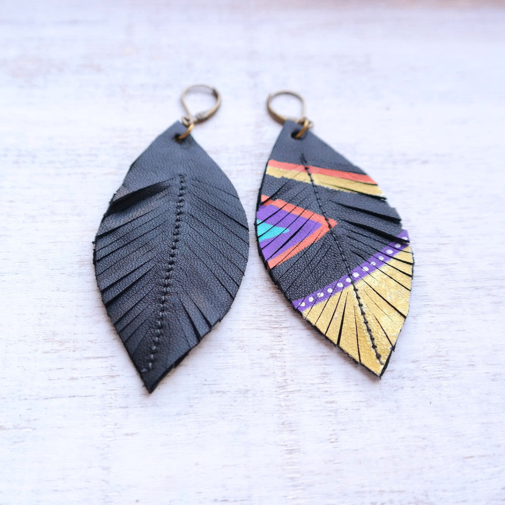Aztec Feather & Leather Earrings - Gypsy Soul Jewellery  - 2