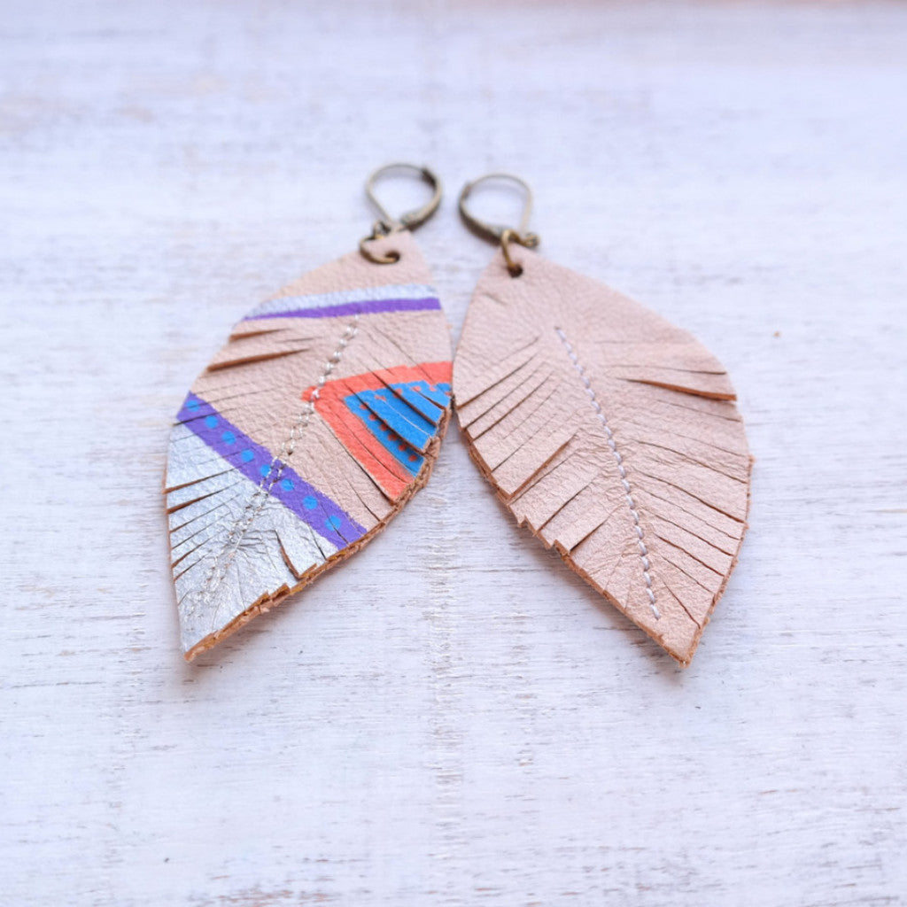 Aztec Feather & Leather Earrings - Gypsy Soul Jewellery  - 4