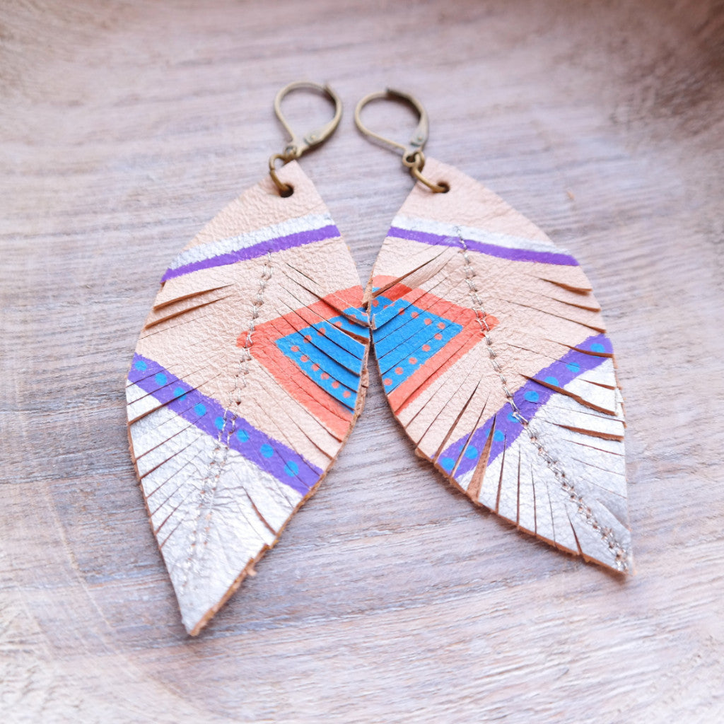 Aztec Feather & Leather Earrings - Gypsy Soul Jewellery  - 3