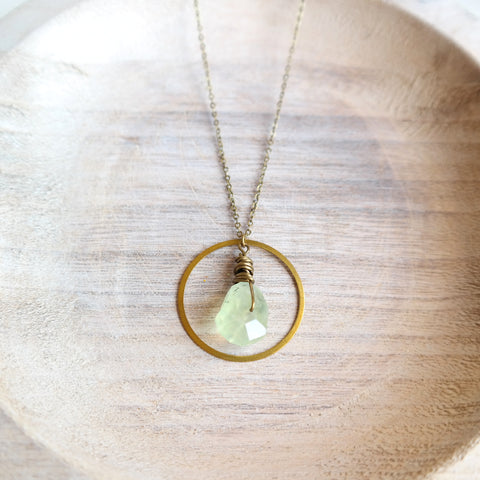 Gold Circle Necklace with Yellow Jade
