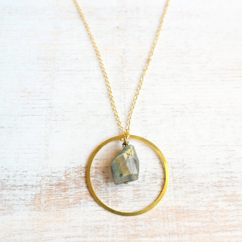 Silver Circle Necklace with Labradorite