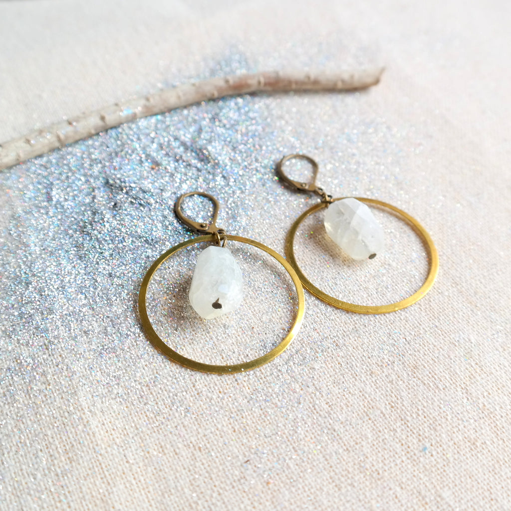 Gold Hoop Earrings with Moonstone