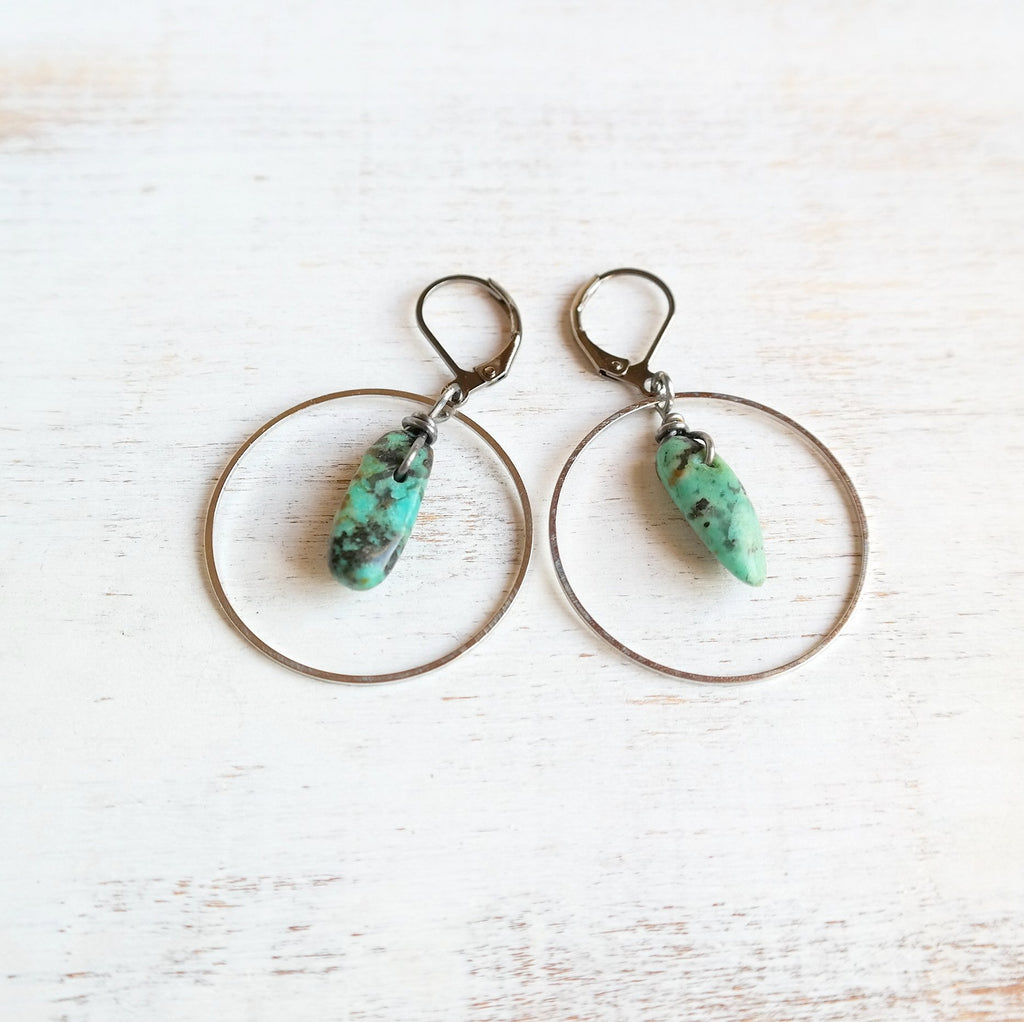 Silver Hoop Earrings with African Turquoise