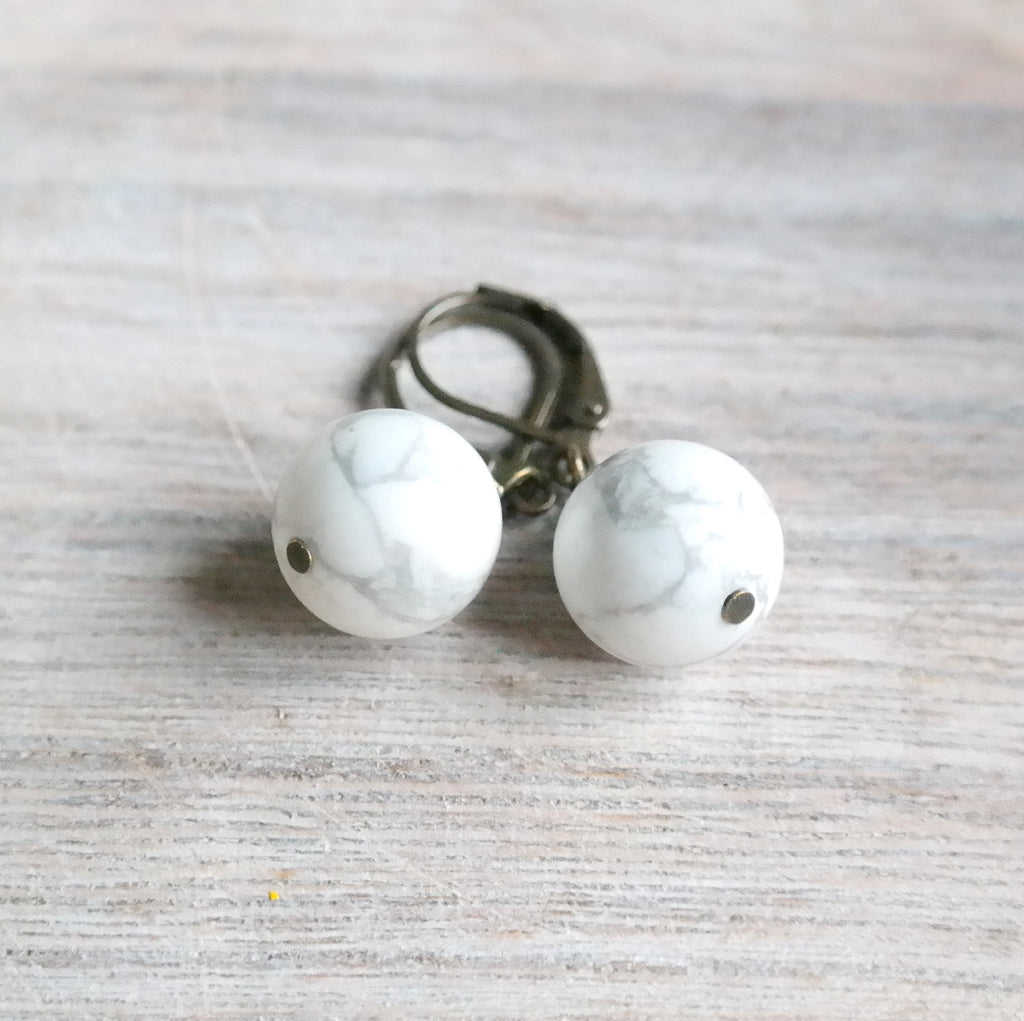 White Howlite Earrings