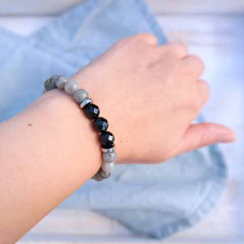 Onyx and Black Lava Protection Bracelet