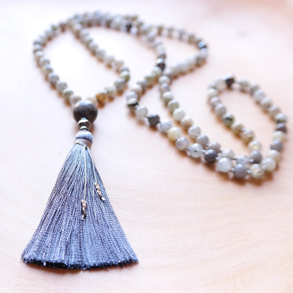 Labradorite Mala Beads - Intuition Mala Necklace