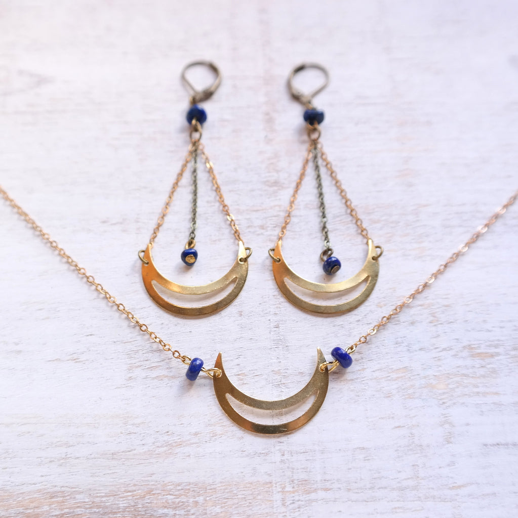 Lapis Lazuli Moon Earrings - Gypsy Soul Jewellery  - 2