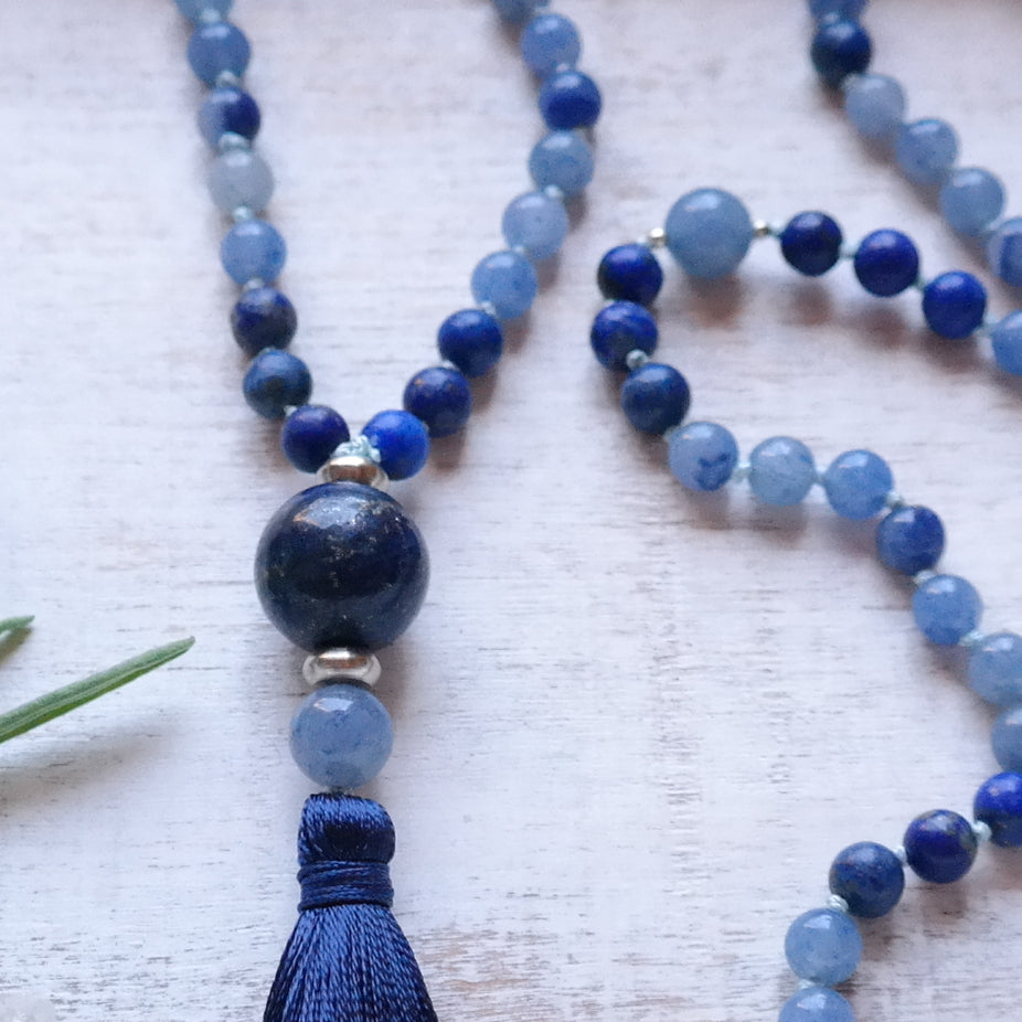 Blue Aventurine & Lapis Lazuli Mala - Self Awareness Mala