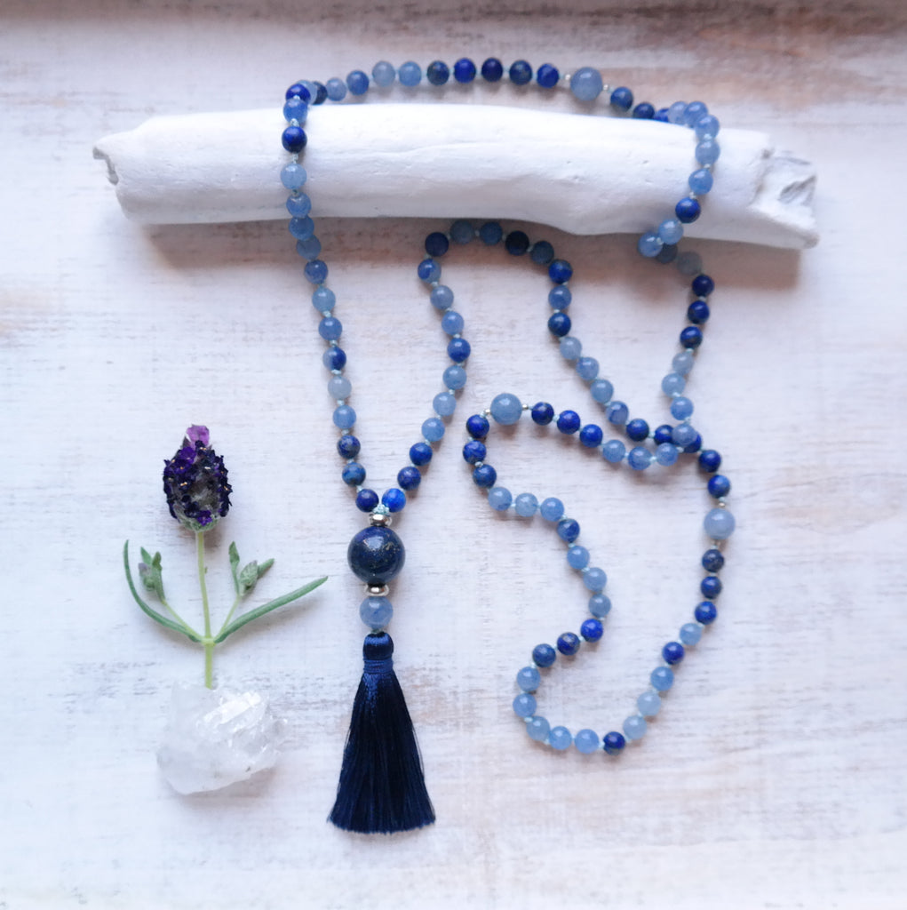 Blue Aventurine & Lapis Lazuli Mala Necklace - Self Awareness Mala