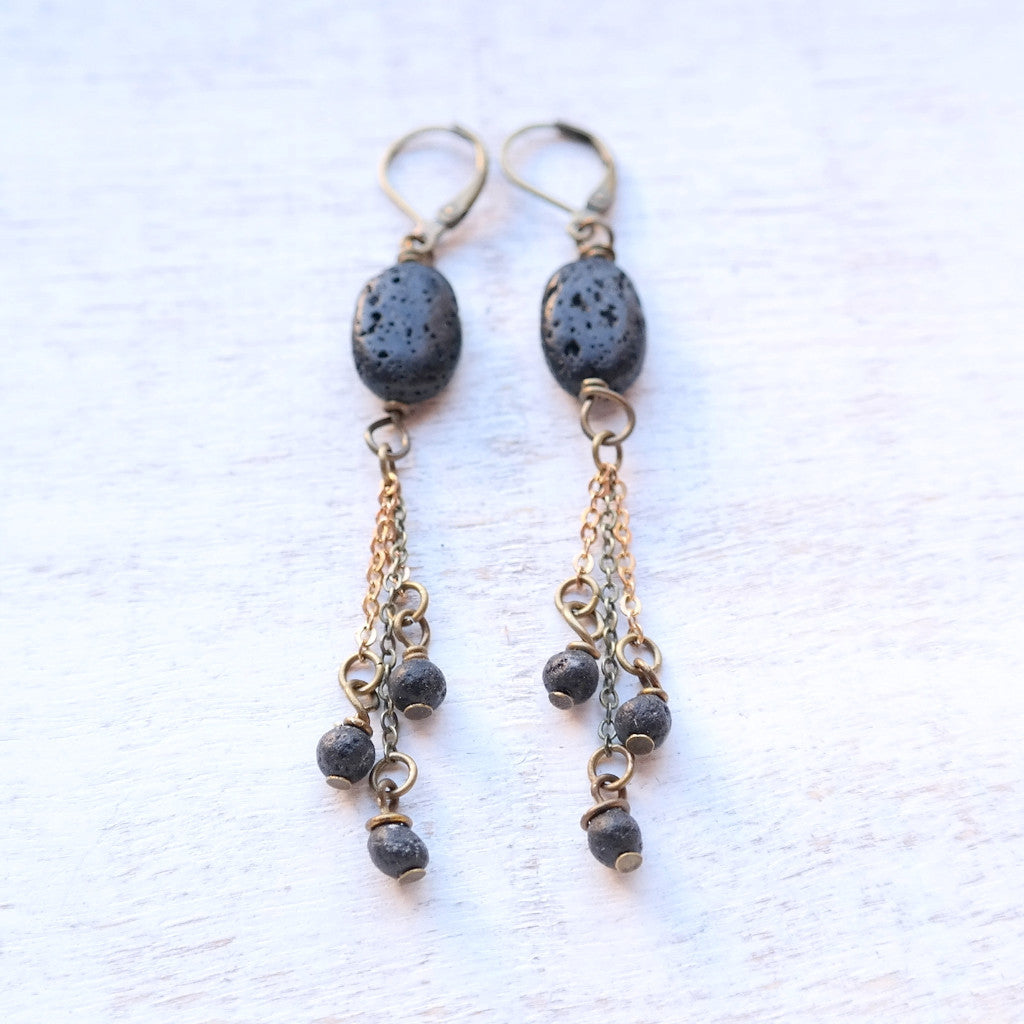 Black Lava Stone Earrings - Gypsy Soul Jewellery  - 1